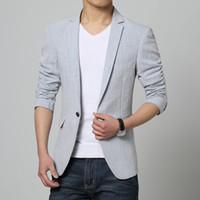 Men' s Linen Blazer Jacket High Quality 2016 New Casual ...