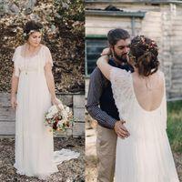2016 Plus Size Wedding Dresses Lace Scoop Short Sleeves Back...