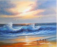 Пляж Sunset Shore Птицы Чайки Surf Волны Облака, чисто Ручная роспись Морской пейзаж Арт картина маслом на Canvas.any заказной размер принимаются Джон