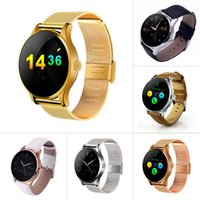 Smart Watch Heart Rate Monitor Metal Wristwatch MTK2502 Bluetooth K88H Tela Redonda Smartwatch Relógio Pedômetro Discagem Para Android IOS Phone