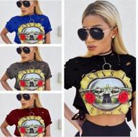 2016 de Moda de Nova chegada mangas compridas em torno das senhoras camisa do pescoço T curtos armas impressos e N Roses T-shirt grande garota lo shi Camiseta Tops frete grátis