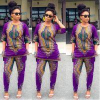 2016 Mulheres Africano Dashiki Imprimir Stretch Pant Blusa Half Sleeve Tops + Calças Suit 2 Piece Set Elegante respirável Confortável Ethnic Vestuário