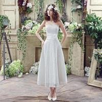 Лето 2016 Новый стиль Модест Короткие свадебные платья дешевые A-линия Tea_Length полный шнурок без бретелек белого цвета слоновой кости Свадебные платья