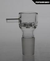 Free sipping slide verre de fleurs en verre bols avec poignée pour les tuyaux en verre d'eau et bongs smoking bowls joint taille 18.8mm PG067