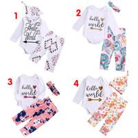 high quality girl suits 3PCS Newborn Baby Girls Hello World ...