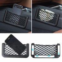 Vente en gros-Nouveau siège de voiture arrière de rangement Net Bag Phone Holder Poche universelle filet de filet de sac Fit All Phone Support Phone Voiture
