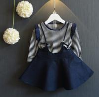 Leisure Autumn Girl Sets Stripes Long Sleeve T- shirt + Denim...