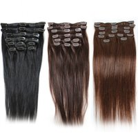 Cheap Brazilian Clip In Human Hair Extensions Staight #1#2#4...