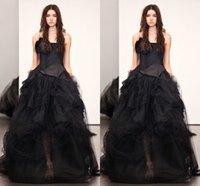 Black Wedding dresses Lace Wedding gowns Strapless Charming ...