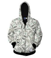 venda quente jaqueta de zíper para homens / mulheres hoody 3d camisola de impressão dólares do dinheiro linda hoodies encapuzados tops de outono