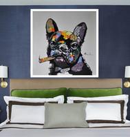 Рамка для собак с сигарой, Сигары с ручной росписью, Современная абстрактная живопись, Живопись маслом, Декор Home Decor Высокое качество Размер холста можно настроить