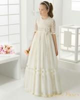 2016 Мед Цяо Первое Причастие платья шнурка девушки цветка для венчания Святого Причащения платья Pageant платья для девочек преданно
