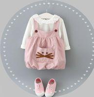 Hot Sale Baby Girls Cat Pocket Suspender Dress Outfits Autum...