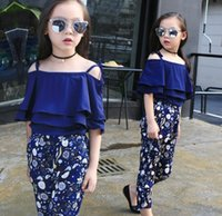 2016 Summer Fall 110- 160 Girl Outfits Set Colorful Strapes T...