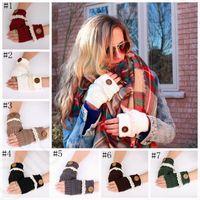 Botão Lace dedos luvas de malha Luvas Arm Warmer macias Mittens camisola mão presente de Natal 7 cores 2pcs / pair LJJO803
