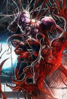 Человек-паук против яда, чисто Handpainted Фантазия аниме Картина маслом на холсте высокого качества для декора стены Unstretched Unframe