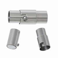 Stainless Steel Silver Cylinder Magnetic Clasp Connectors Je...