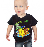 Boys Poke go Pikachu T- shirts 2 Color children cartoon Bulba...