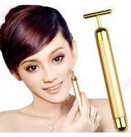 24K Gold Plated Vibration Facial Beauty Roller Massager Stic...