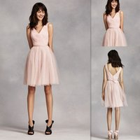 Bridesmaids Dresses Short 2016 Blush Tulle A- line With Sash ...