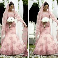 2016 Элегантный афро Розовый Русалка Свадебные платья с длинным рукавом Sheer Jewel шеи мусульманское свадебное платье для зимы падения свадьбы с бесплатных покрывал