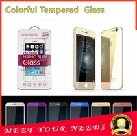 Iphone 5 6s 6 6plus цвет металлизированный закаленное стекло зеркало красочный передний и задний протектор экрана мобильного телефона красочный фильм с розничной коробкой