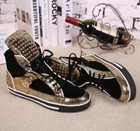 Золото / Черный Лоскутные высокий Top Тренеры шнуровке шипованных плоские вскользь Мужская обувь Zapatillas Deportivas Mujer