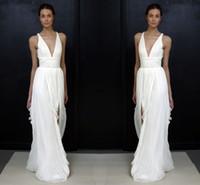 Plunging V- neck Spaghetti A Line Wedding Dresses Chiffon Oce...