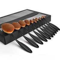Maquillage Oval brosses 10 pcs fixés Fondation Professional poudre Outils de maquillage avec Retail Box Black Gold via DHL Livraison gratuite