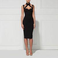 2016 new women sexy black bodycon dress strap midi split on ...