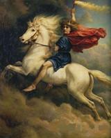 Фея Ангел белый конь дымовая бомба, чисто Ручная роспись Портрет маслом искусства Canvas.any подгонять размер принято весной