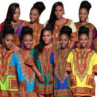 2017 Africano moda projetado 9 cores Mulheres Impressão tradicional Dashiki National Print T-shirt Pocket Top Half Casual Casual Mini vestido