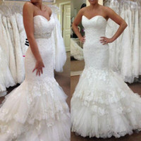 Lace Mermaid Wedding Dresses Strapless Sweetheart Neckline L...