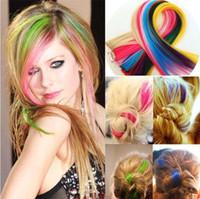 Melhores Vendas coloridas populares cabelo colorido produtos Clip On em extensões do cabelo 24 cores frete grátis 2704
