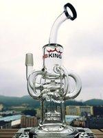 2016 HBKing fabricant 4 anneaux d'huile douche recycler percs klein recycler rose verre bongs verre borosilicate, HB-K1 tuyau d'eau en verre