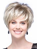 Perruques de cheveux chauds pour femmes Perruques courtes droites synthétiques Perruque de cheveux résistant à la chaleur en Stock AW159 Livraison gratuite