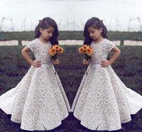 Lace Flower Girl Dresses For Wedding Vintage Jewel Short Sle...