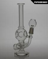 20cm grand verre plates-formes pétrolières Diffuseur verre fumeurs de pipes en ligne percolater Taille du verre Crâne commun Bongs 14.4mm SL018