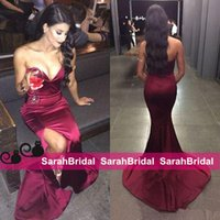 Sexy Burgundy Mermaid Prom Dresses 2016 Sweetheart Neck Deep...