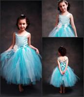 Lovely Sky Blue Flower Girl Dresses Tea Length Tulle First C...