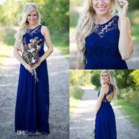 2016 New Midnight Blue Lace Chiffon Country Bridesmaid Dress...