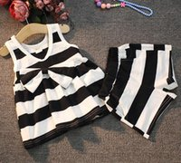 2016 summer new girls suit children' s princess striped ...