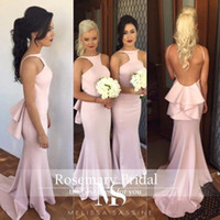 New Style Pink Long Bridesmaids Dresses 2016 Sexy Backless M...
