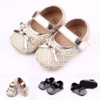 New Arrival Baby Girls' Walking Shoes Lattice Print Bow...