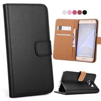 Pour Galaxy S8 S8 plus Real Real Wallet Leather Phone Card Card Slots Holder Pocket Flip Stand Cover pour S6 S7 / S7 Edge