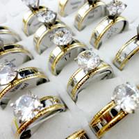 Mode Classique Femmes Engagement d'anniversaire de mariage Prong Bague Réglage zircon cubique en acier inoxydable Anneaux Femme Bijoux LR417