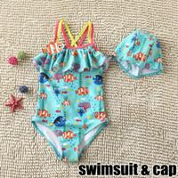 Encontrar Nemo Dory Kids Verão Sun-resistente Bikini Meninas Kids Swimsuit One-Piece 2016 Nova Moda Frilling Swimwear Com Nadar Caps