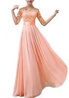 Меньше чем $ 80 платья невесты Sexy шифон Длинные фрейлин Bridesmaids платье с кружевом Розовое шампанское Royal Blue платья 2016 для дешевых
