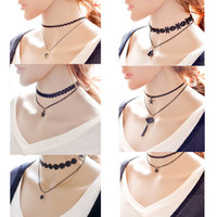 Women' s Fashion Multi- Layer Tattoo Choker Necklace Vint...