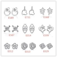 Mixed style 925 sterling silver plated crystal zircon stud e...